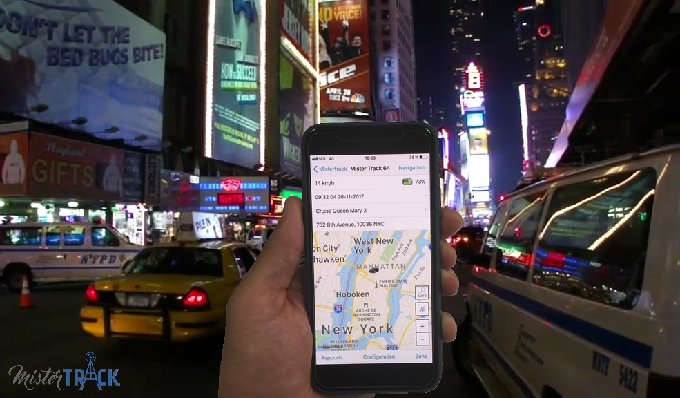 Rastreador GPS Mister Track en Time square Nueva York