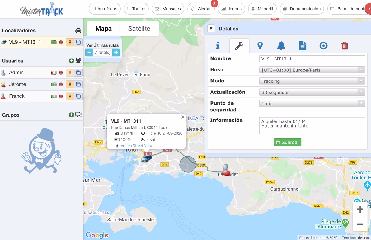 Configuracion localizador plataforma Mister Track